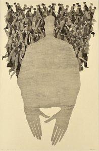 第88回 2014年 <私について>木版 ( 84 x 54cm )