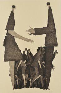 90回記念国展 2016年 言葉を交わすとき>木版 ( 84 x 54cm )