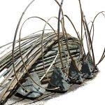 60-140×640×640cm 石、竹など