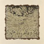 木版・落葉の葉に雁皮刷り ( 60 x 60cm )