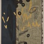 木版・落葉の葉に雁皮刷り ( 98 x 80cm )
