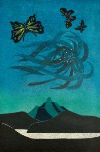 湖山(風花・蝶)木版(90 x 60cm)