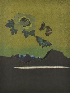 湖山(蝶・牡丹)木版 (60 x 45cm)