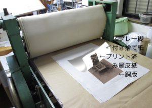 糊付きの捨て紙で雁皮紙を銅板から剥がす