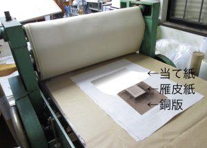 続いて銅版画として組み込む部分を雁皮紙にプレス印刷する。